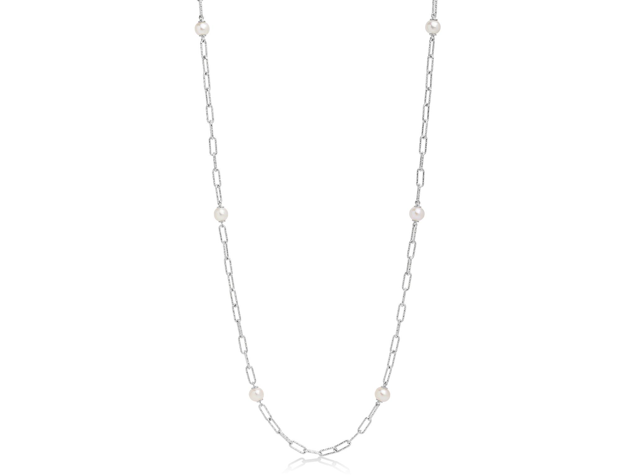 Collana lunga con catena a maglia, in argento con perle. - PCL6073B