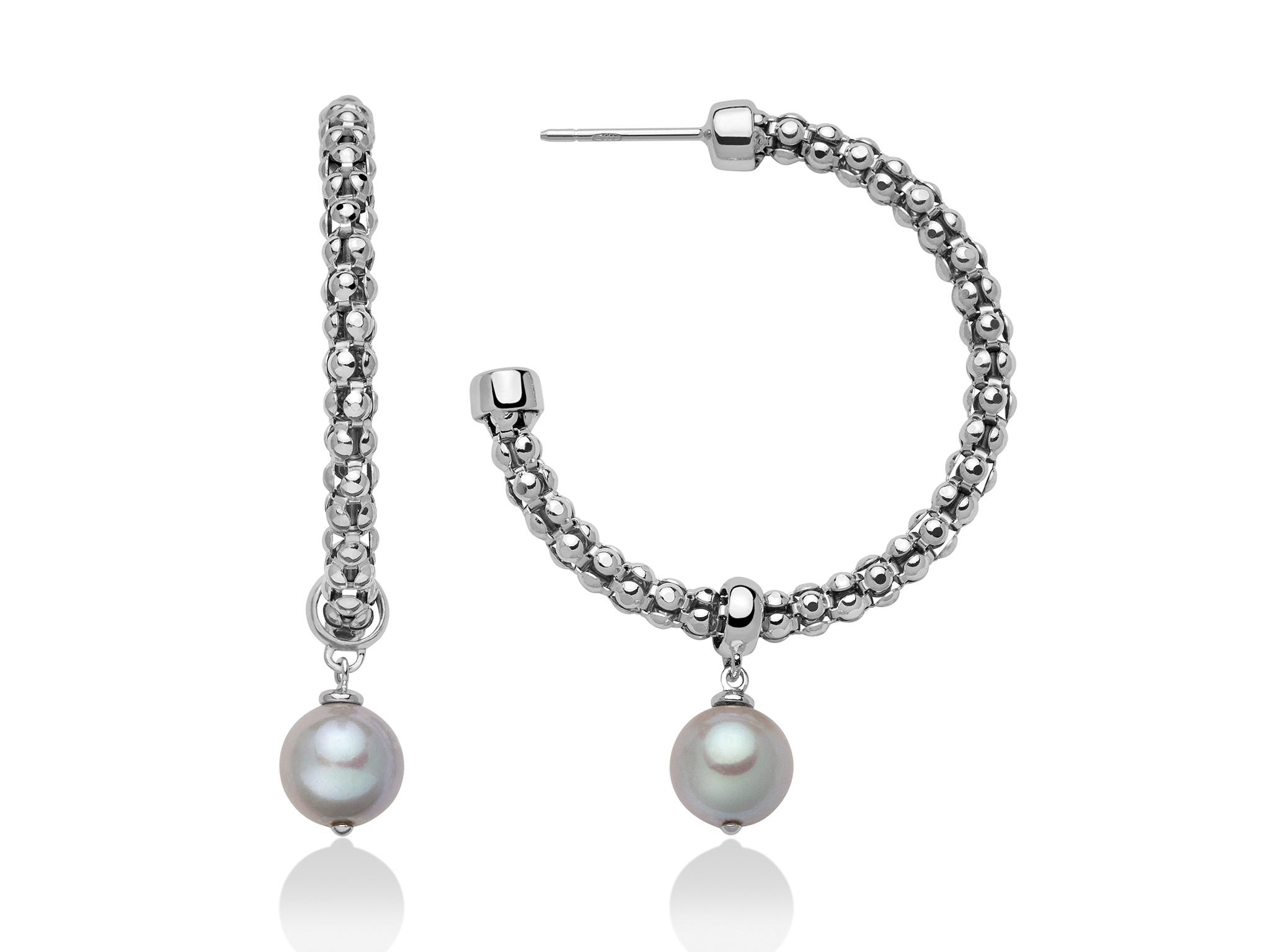 Orecchini a cerchio con maglia coreana in argento con perle. - PER2398