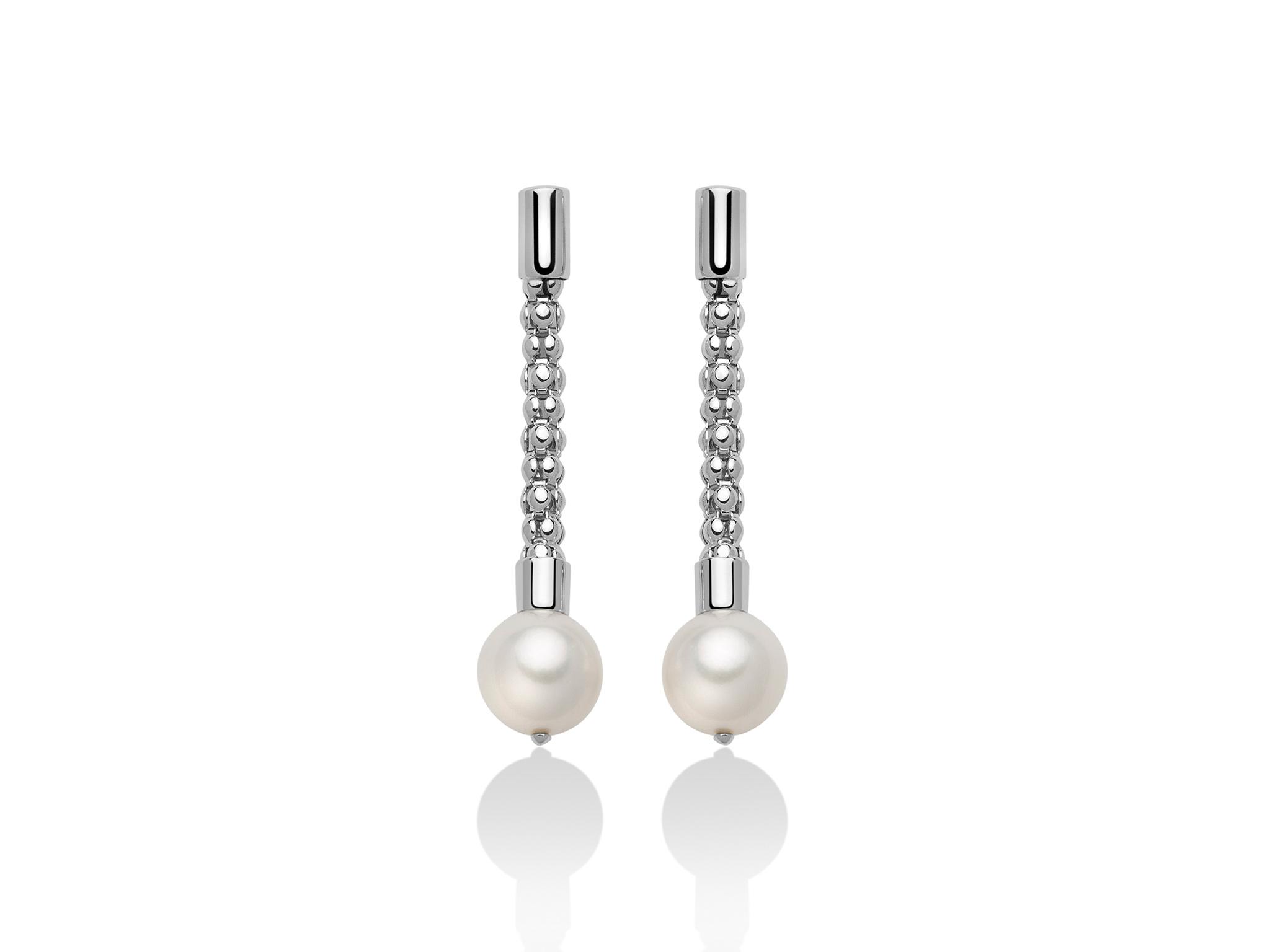 Orecchini pendenti con maglia coreana, in argento con perle - PER2409