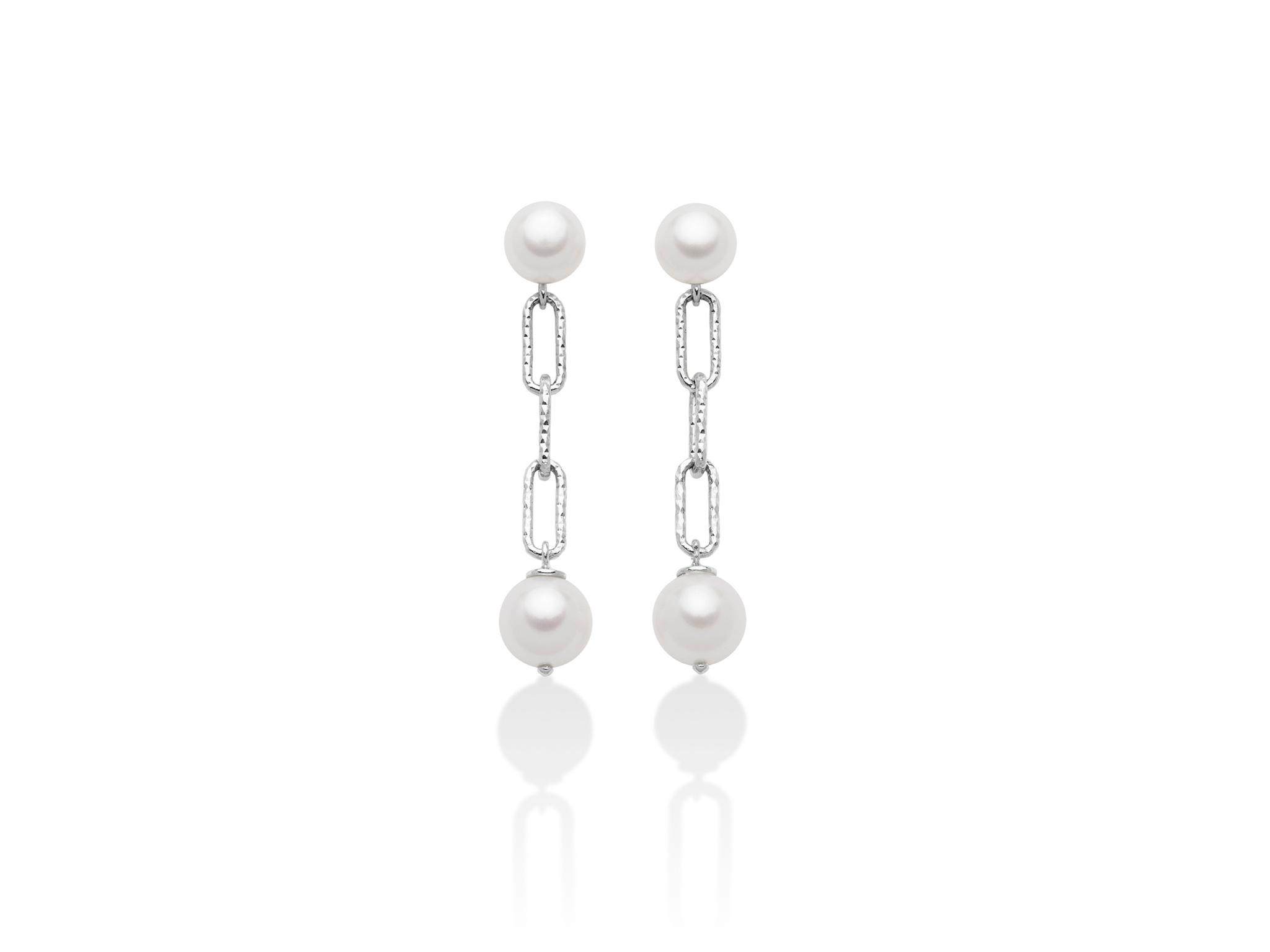 Orecchini pendenti, con catena, con perle in argento - PER2511