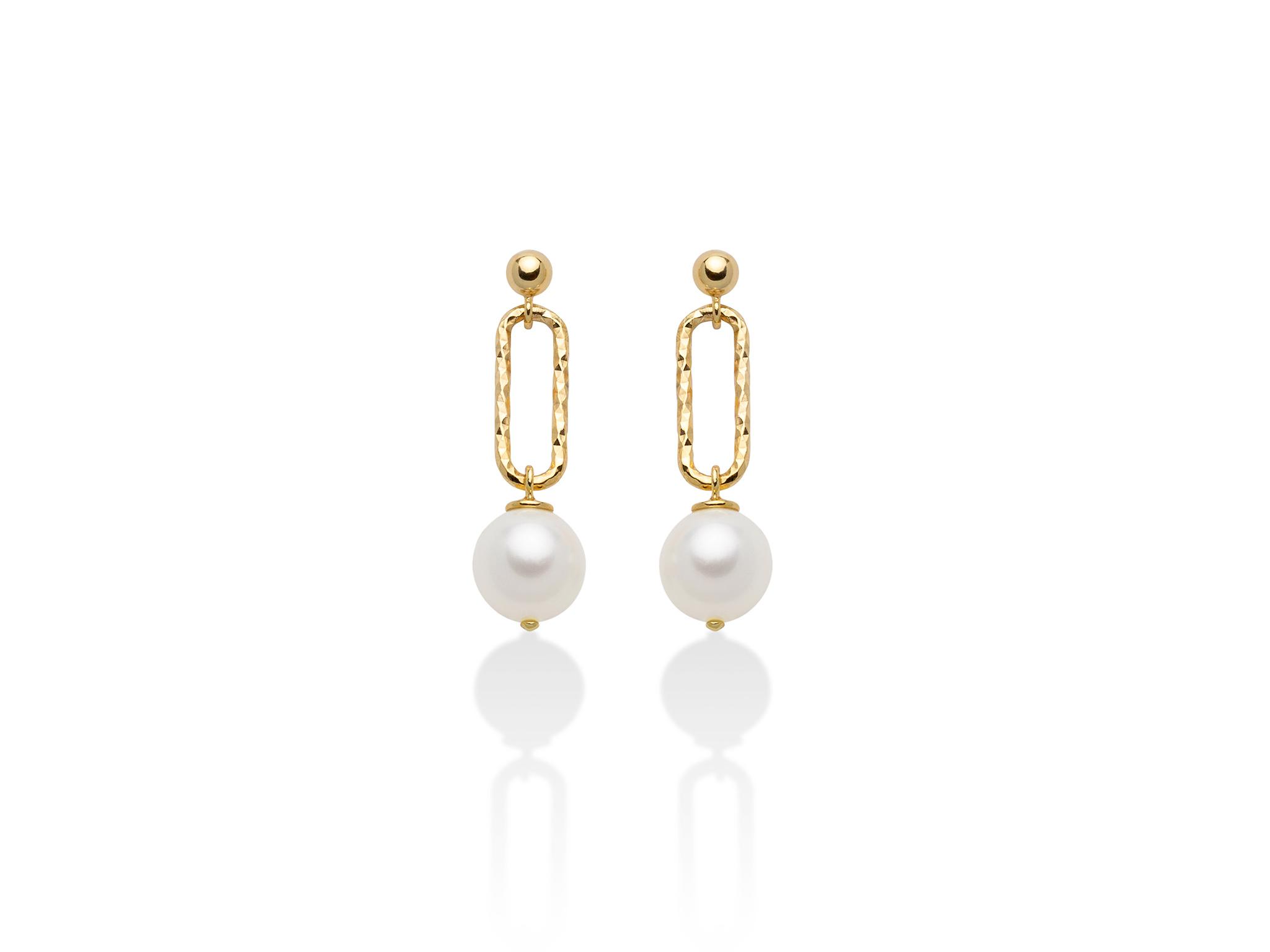 Orecchini pendenti, con catena, in argento con perle. - PER2513G