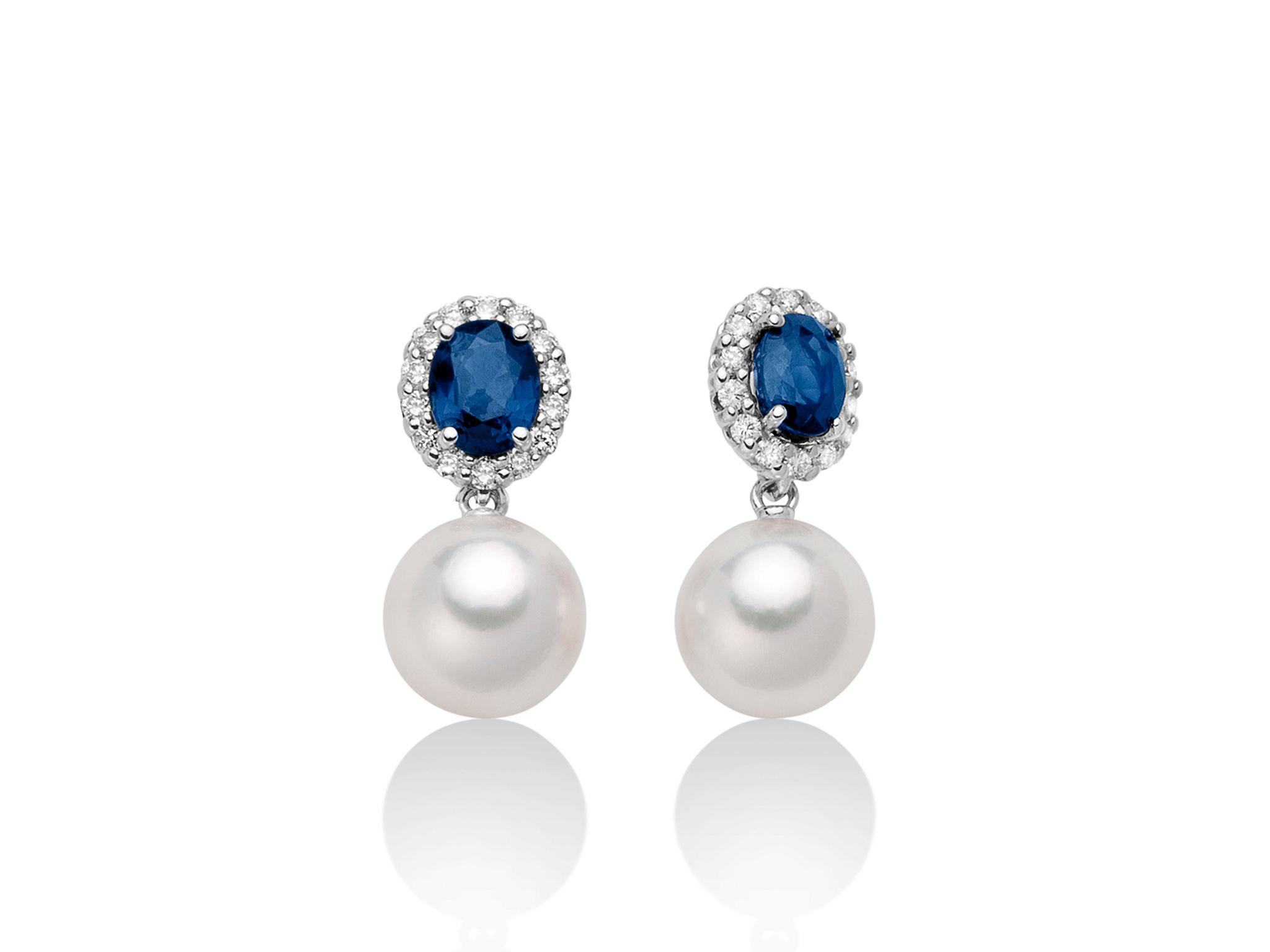 Orecchini con Zaffiri e perle Akoya - PER2514